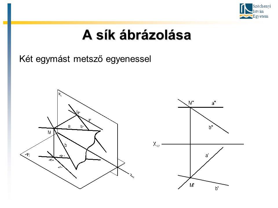 Széchenyi István Egyetem A sík ábrázolása A sík ábrázolása Két egymást metsző egyenessel