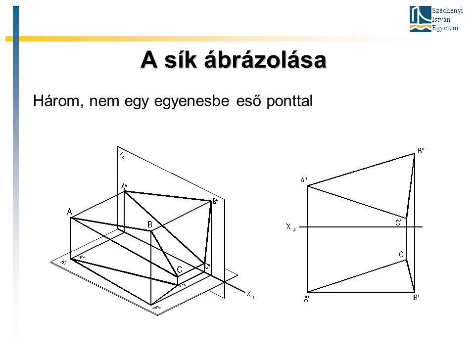 Széchenyi István Egyetem A sík ábrázolása A sík ábrázolása Három, nem egy egyenesbe eső ponttal