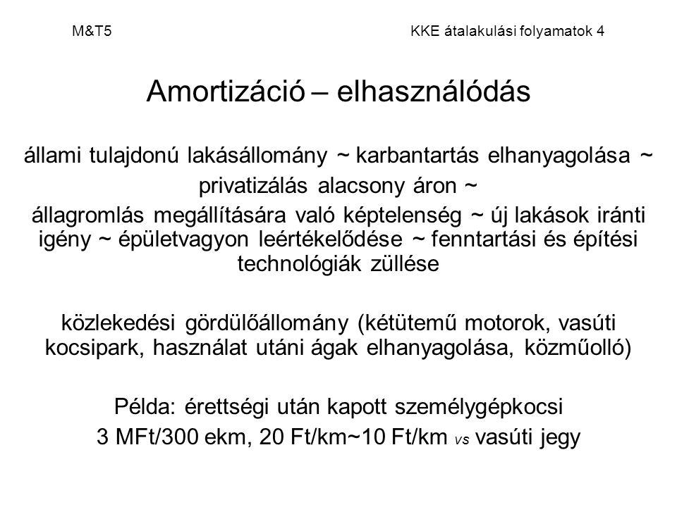 M&T5 KKE átalakulási folyamatok 4 Amortizáció – elhasználódás állami tulajdonú lakásállomány ~ karbantartás elhanyagolása ~ privatizálás alacsony áron