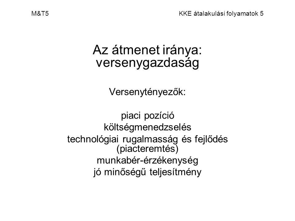 M&T5 KKE átalakulási folyamatok 5 Az átmenet iránya: versenygazdaság Versenytényezők: piaci pozíció költségmenedzselés technológiai rugalmasság és fej