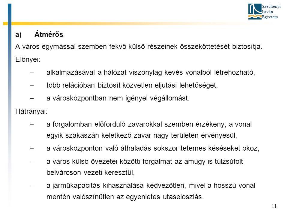 Széchenyi István Egyetem 11 a)Átmérős A város egymással szemben fekvő külső részeinek összeköttetését biztosítja. Előnyei: –alkalmazásával a hálózat v