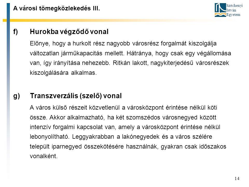Széchenyi István Egyetem 14 f)Hurokba végződő vonal Előnye, hogy a hurkolt rész nagyobb városrész forgalmát kiszolgálja változatlan járműkapacitás mel