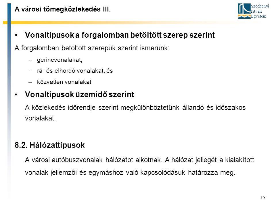 Széchenyi István Egyetem 15 Vonaltípusok a forgalomban betöltött szerep szerint A forgalomban betöltött szerepük szerint ismerünk: –gerincvonalakat, –