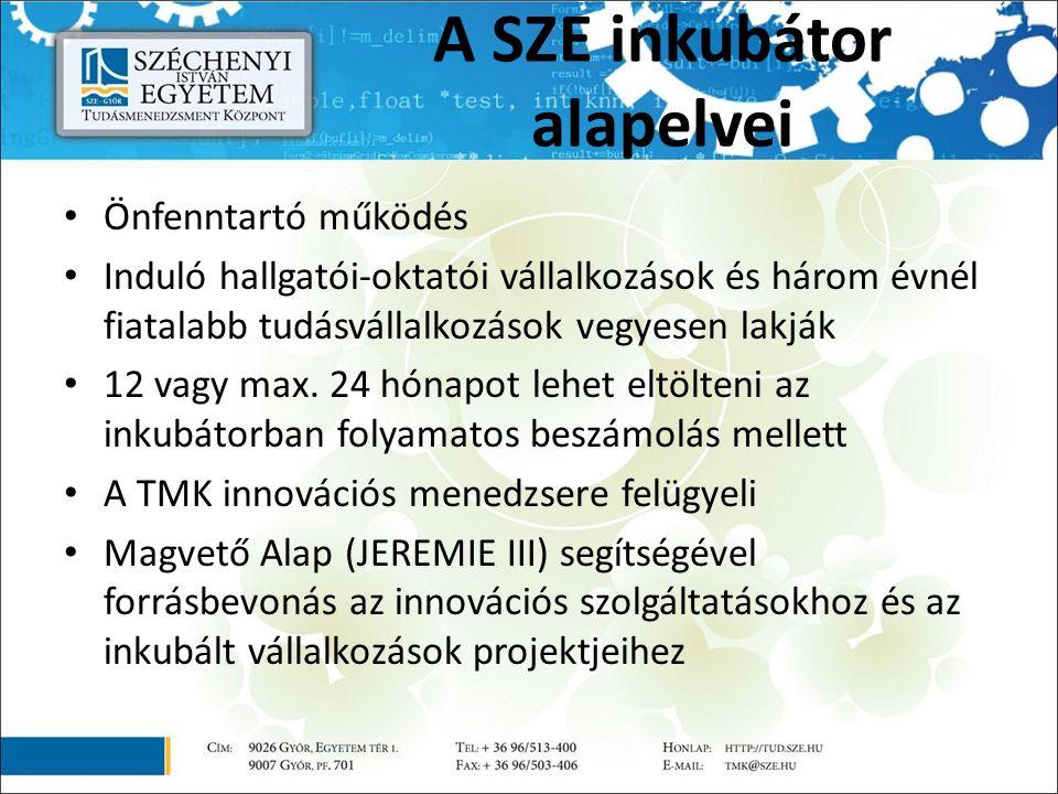 A SZE inkubátor alapelvei Önfenntartó működés Induló hallgatói-oktatói vállalkozások és három évnél fiatalabb tudásvállalkozások vegyesen lakják 12 vagy max.
