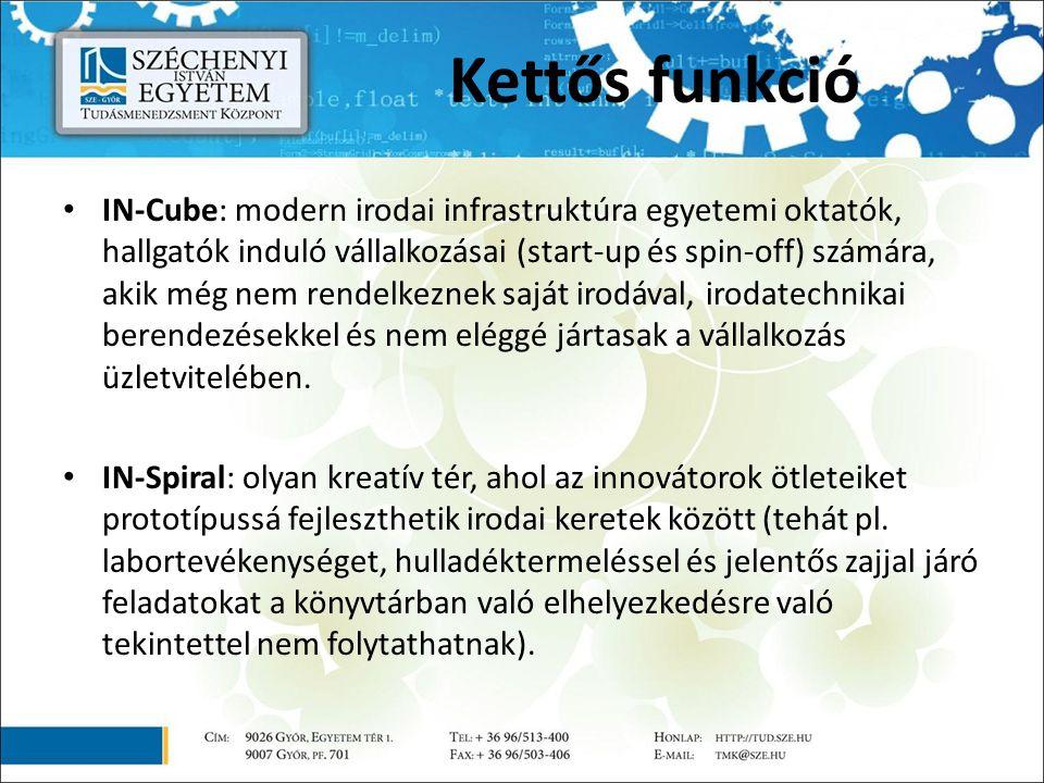 IN-Cube: modern irodai infrastruktúra egyetemi oktatók, hallgatók induló vállalkozásai (start-up és spin-off) számára, akik még nem rendelkeznek saját