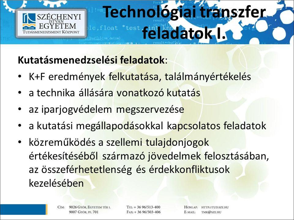 Technológiai transzfer feladatok I. Kutatásmenedzselési feladatok: K+F eredmények felkutatása, találmányértékelés a technika állására vonatkozó kutatá