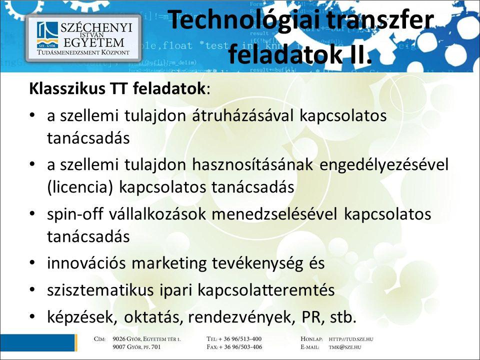 Technológiai transzfer feladatok II. Klasszikus TT feladatok: a szellemi tulajdon átruházásával kapcsolatos tanácsadás a szellemi tulajdon hasznosítás