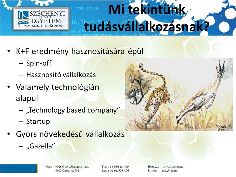 """Mi tekintünk tudásvállalkozásnak? K+F eredmény hasznosítására épül – Spin-off – Hasznosító vállalkozás Valamely technológián alapul – """"Technology base"""