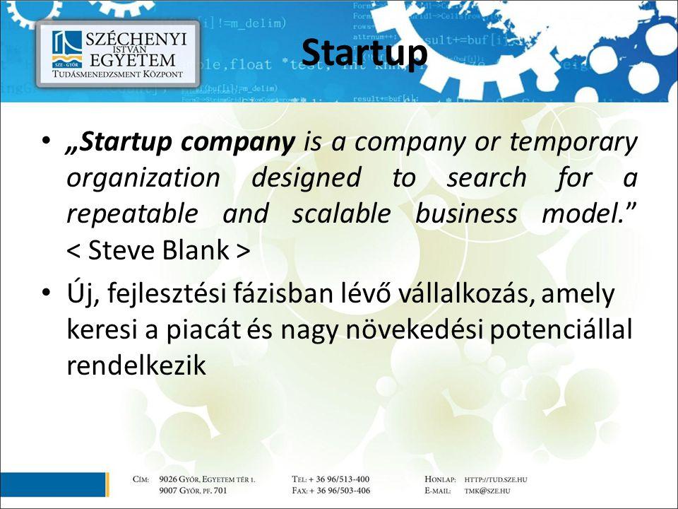 """Startup """"Startup company is a company or temporary organization designed to search for a repeatable and scalable business model. Új, fejlesztési fázisban lévő vállalkozás, amely keresi a piacát és nagy növekedési potenciállal rendelkezik"""