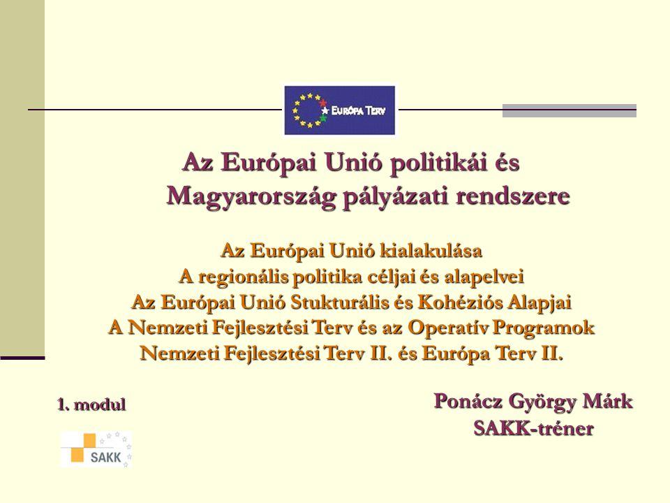 Az Európai Unió politikái és Magyarország pályázati rendszere Az Európai Unió kialakulása A regionális politika céljai és alapelvei Az Európai Unió Stukturális és Kohéziós Alapjai A Nemzeti Fejlesztési Terv és az Operatív Programok Nemzeti Fejlesztési Terv II.