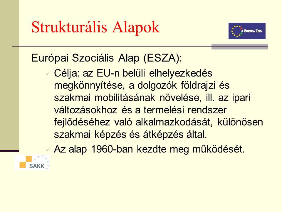 Strukturális Alapok Európai Regionális Fejlesztési Alap (ERFA): Az alap feladatai: A helyi fejlődés elősegítése. Oktatás, egészségügy finanszírozása.