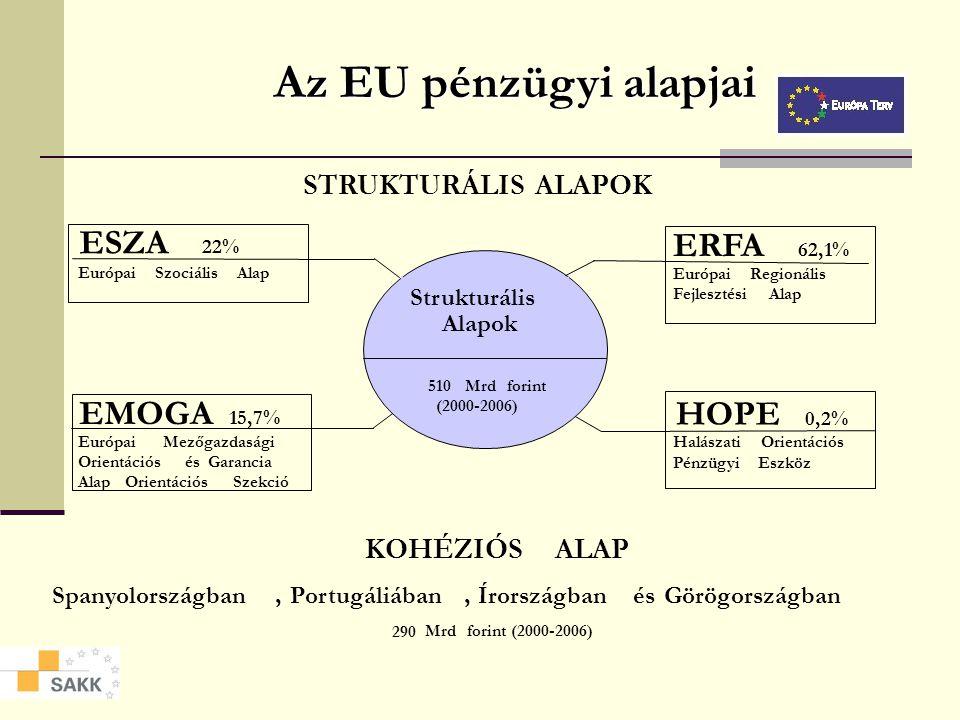 Pénzügyi adatok A strukturális politikák finanszírozása (millió euró, 1999-es árakon) 2000200120022003200420052006 Strukturális Alapok 29 43028 84028