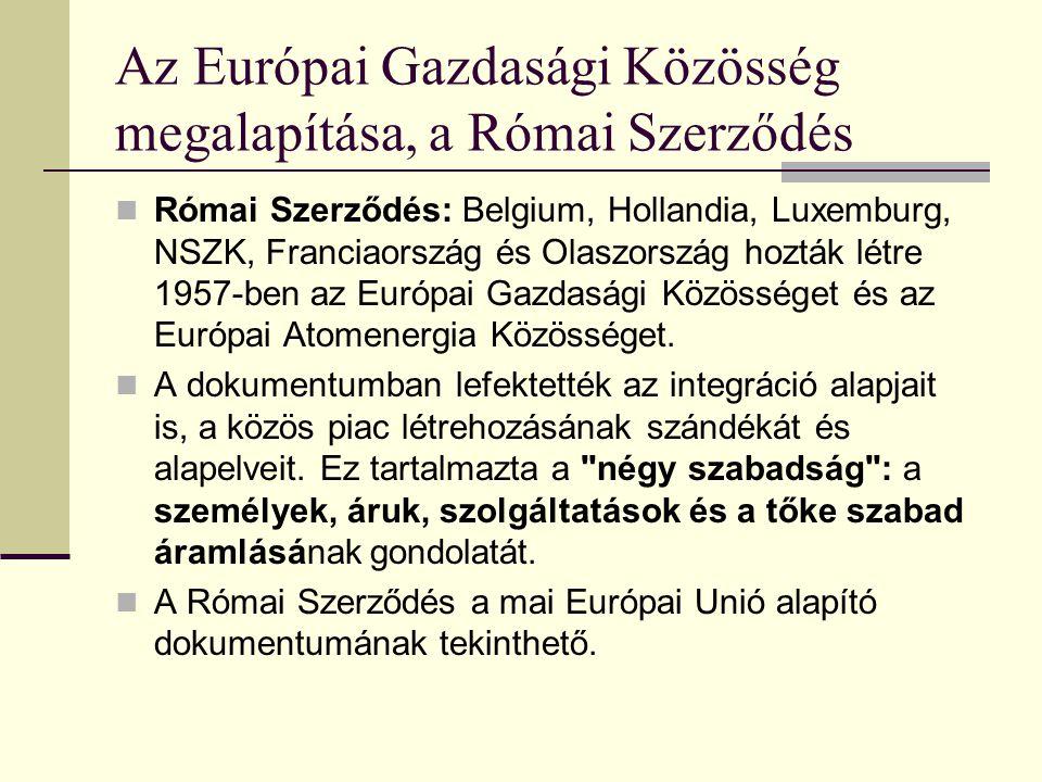 Előzmények: a három közösség 1: Európai Szén és Acélközösség (Párizsi Szerződés 1951. április 18.) 2: Európai Gazdasági Közösség 3: Európai Atomenergi