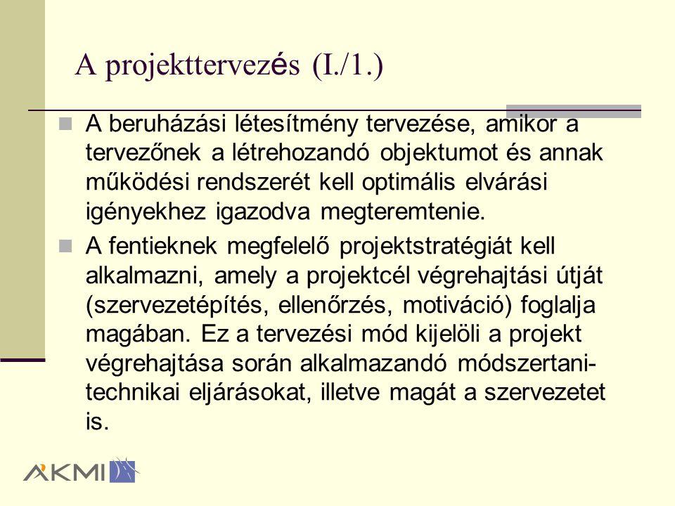 A beruh á z á si projektek A projekteknek és ezen belül a beruházási projekteknek is két jól elkülöníthető része van: a projekt tervezése (beruházások döntéselőkészítése) és a projekt irányítása (beruházás megvalósítása, beleértve a lezárást is).