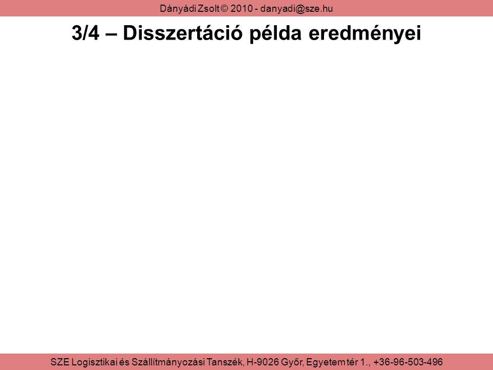 Dányádi Zsolt © 2010 - danyadi@sze.hu SZE Logisztikai és Szállítmányozási Tanszék, H-9026 Győr, Egyetem tér 1., +36-96-503-496 3/4 – Disszertáció példa eredményei