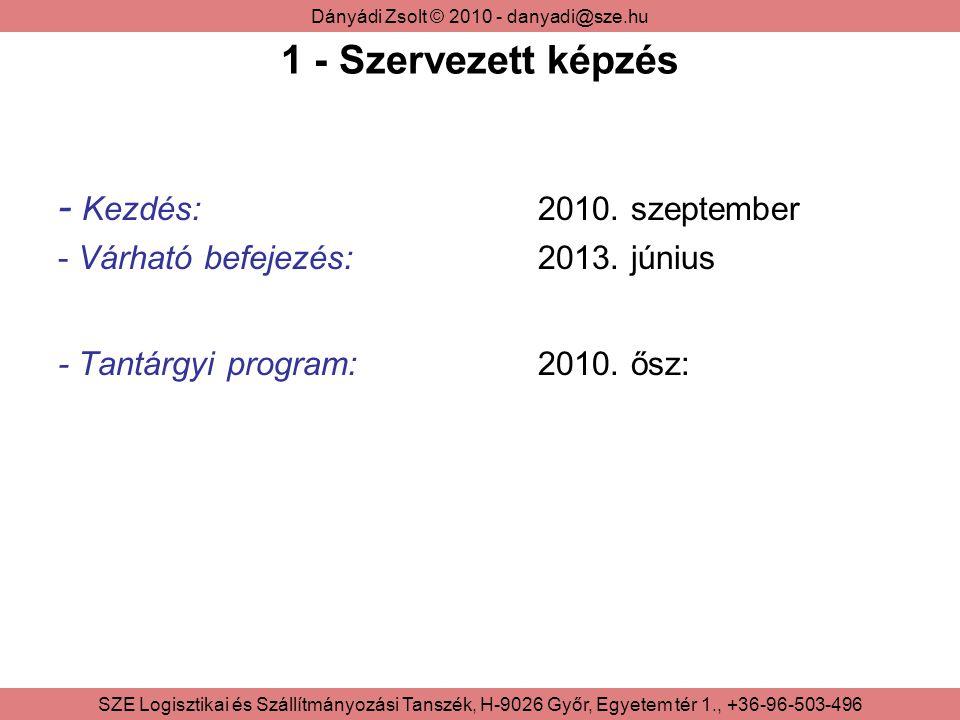 Dányádi Zsolt © 2010 - danyadi@sze.hu SZE Logisztikai és Szállítmányozási Tanszék, H-9026 Győr, Egyetem tér 1., +36-96-503-496 1 - Szervezett képzés - Kezdés: 2010.