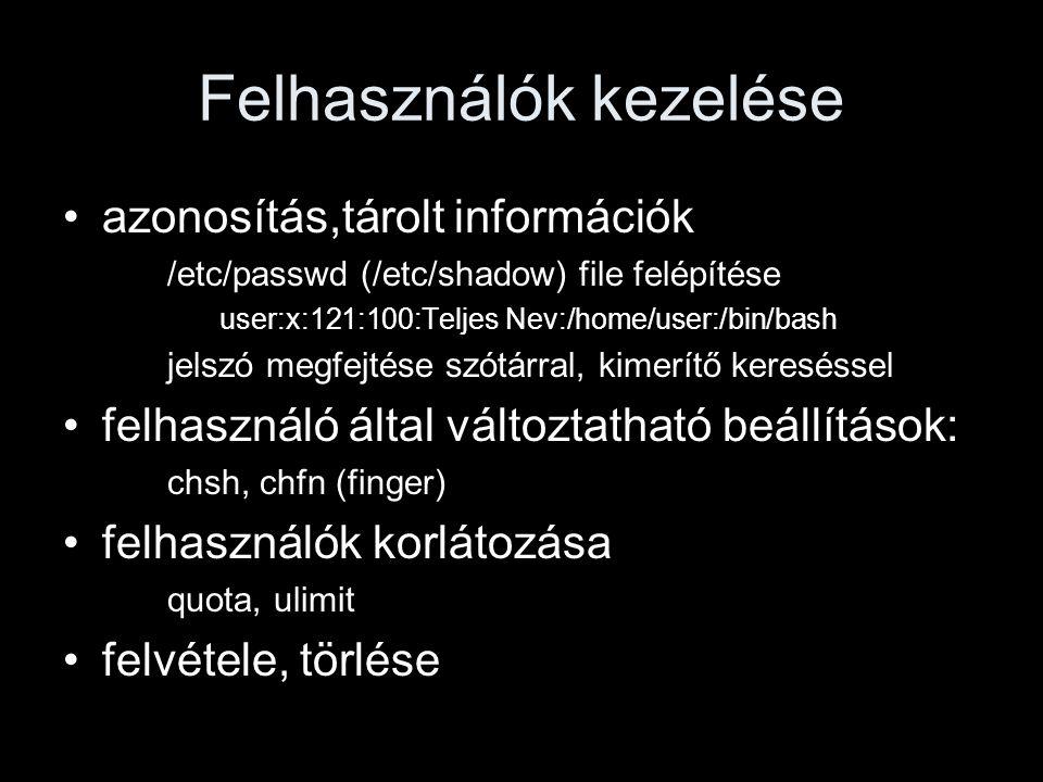 Filerendszerről mélyebben i-node-ok –file infók (pl.