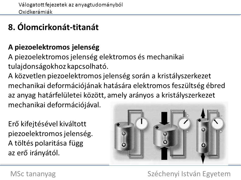 Válogatott fejezetek az anyagtudományból Oxidkerámiák MSc tananyag Széchenyi István Egyetem 8. Ólomcirkonát-titanát A piezoelektromos jelenség A piezo