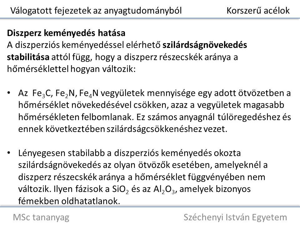 Válogatott fejezetek az anyagtudományból Korszerű acélok MSc tananyag Széchenyi István Egyetem Diszperz keményedés hatása A diszperziós keményedéssel