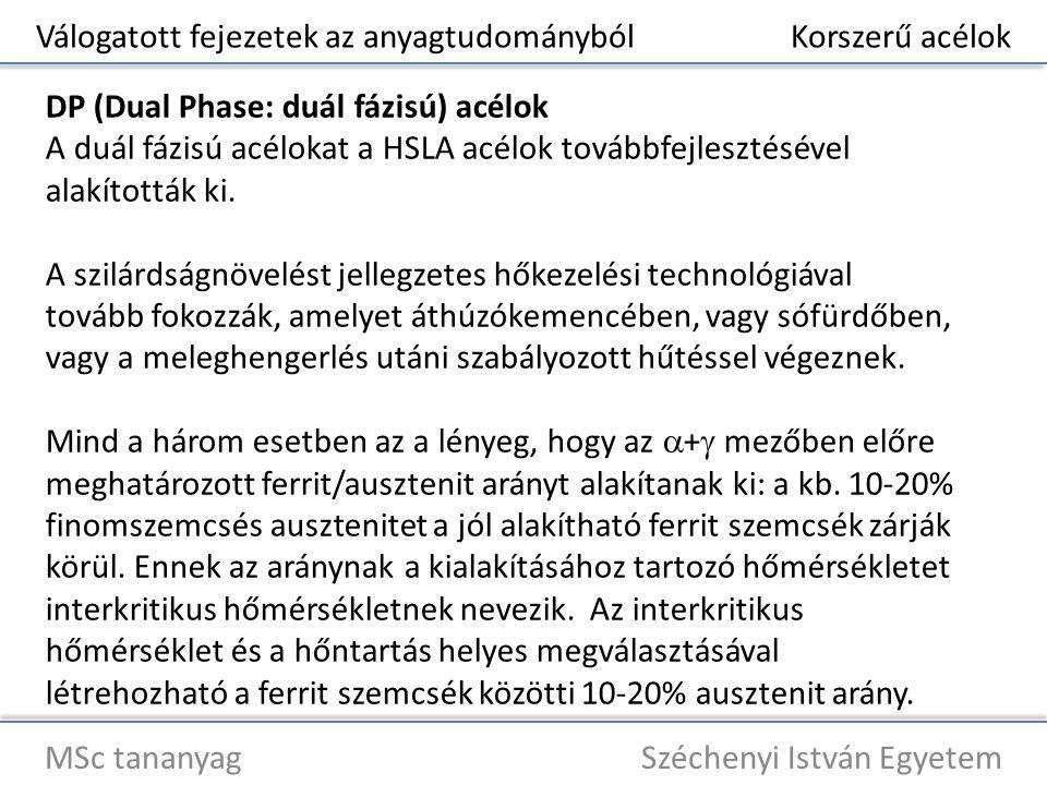 Válogatott fejezetek az anyagtudományból Korszerű acélok MSc tananyag Széchenyi István Egyetem DP (Dual Phase: duál fázisú) acélok A duál fázisú acélo