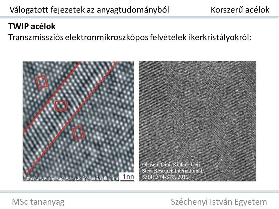 Válogatott fejezetek az anyagtudományból Korszerű acélok MSc tananyag Széchenyi István Egyetem TWIP acélok Transzmissziós elektronmikroszkópos felvéte