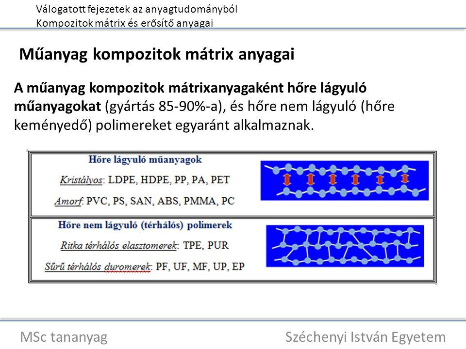 Válogatott fejezetek az anyagtudományból Kompozitok mátrix és erősítő anyagai MSc tananyag Széchenyi István Egyetem Műanyag kompozitok mátrix anyagai