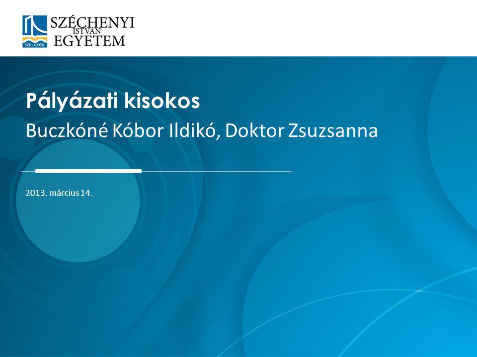 Pályázati kisokos Buczkóné Kóbor Ildikó, Doktor Zsuzsanna 2013. március 14.