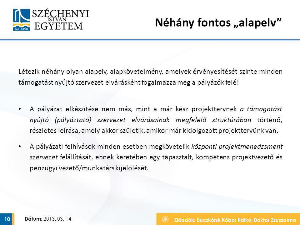 Előadók: Buczkóné Kóbor Ildikó, Doktor Zsuzsanna Dátum: 2013. 03. 14. Létezik néhány olyan alapelv, alapkövetelmény, amelyek érvényesítését szinte min