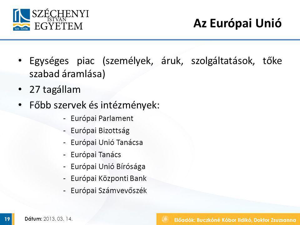 Előadók: Buczkóné Kóbor Ildikó, Doktor Zsuzsanna Dátum: 2013. 03. 14. Az Európai Unió Egységes piac (személyek, áruk, szolgáltatások, tőke szabad áram