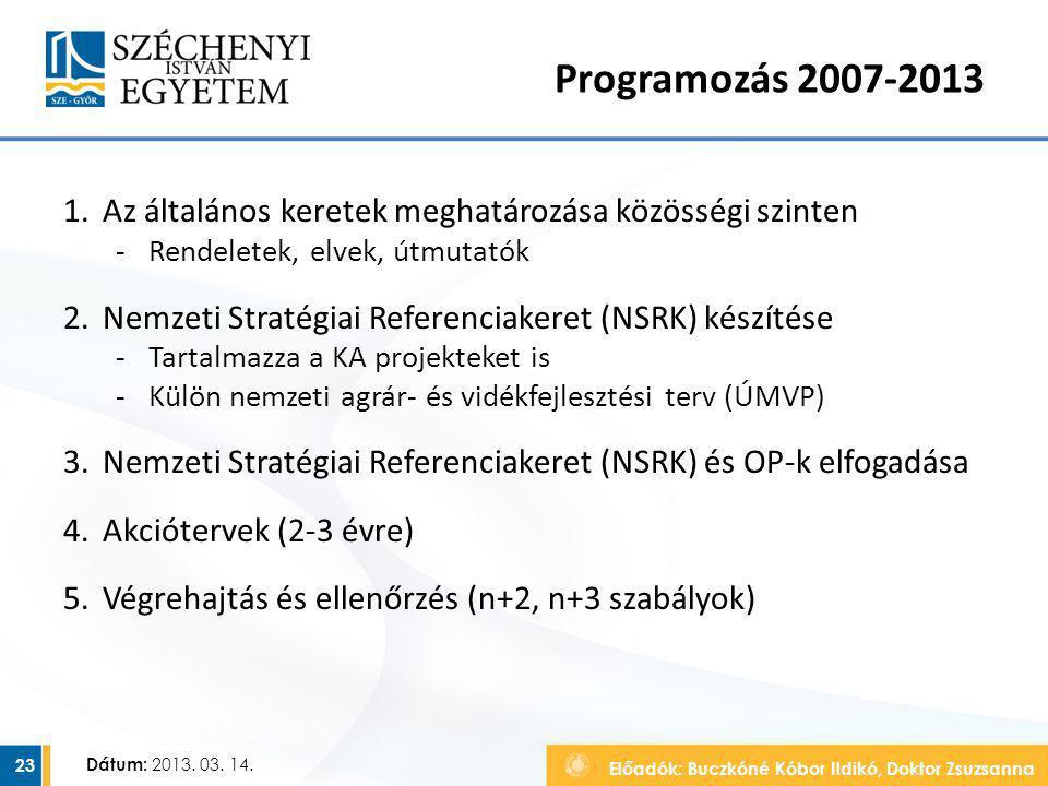 Előadók: Buczkóné Kóbor Ildikó, Doktor Zsuzsanna Dátum: 2013. 03. 14. Programozás 2007-2013 1.Az általános keretek meghatározása közösségi szinten ‐Re