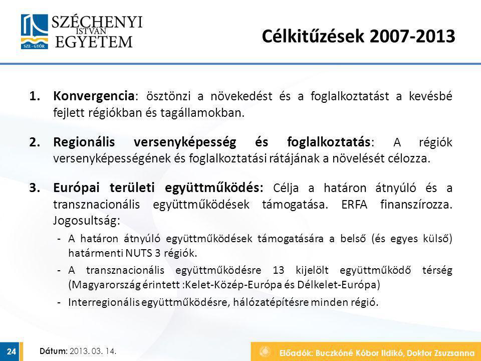 Előadók: Buczkóné Kóbor Ildikó, Doktor Zsuzsanna Dátum: 2013. 03. 14. Célkitűzések 2007-2013 1.Konvergencia: ösztönzi a növekedést és a foglalkoztatás