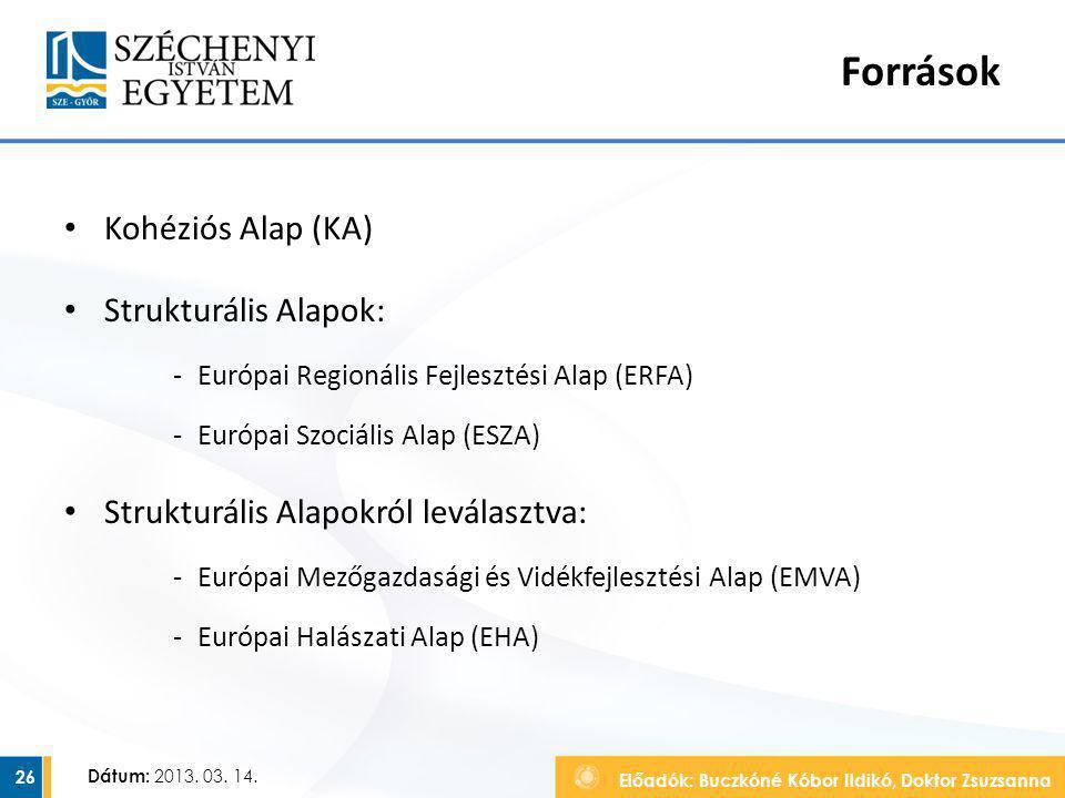 Előadók: Buczkóné Kóbor Ildikó, Doktor Zsuzsanna Dátum: 2013. 03. 14. Források Kohéziós Alap (KA) Strukturális Alapok: ‐Európai Regionális Fejlesztési