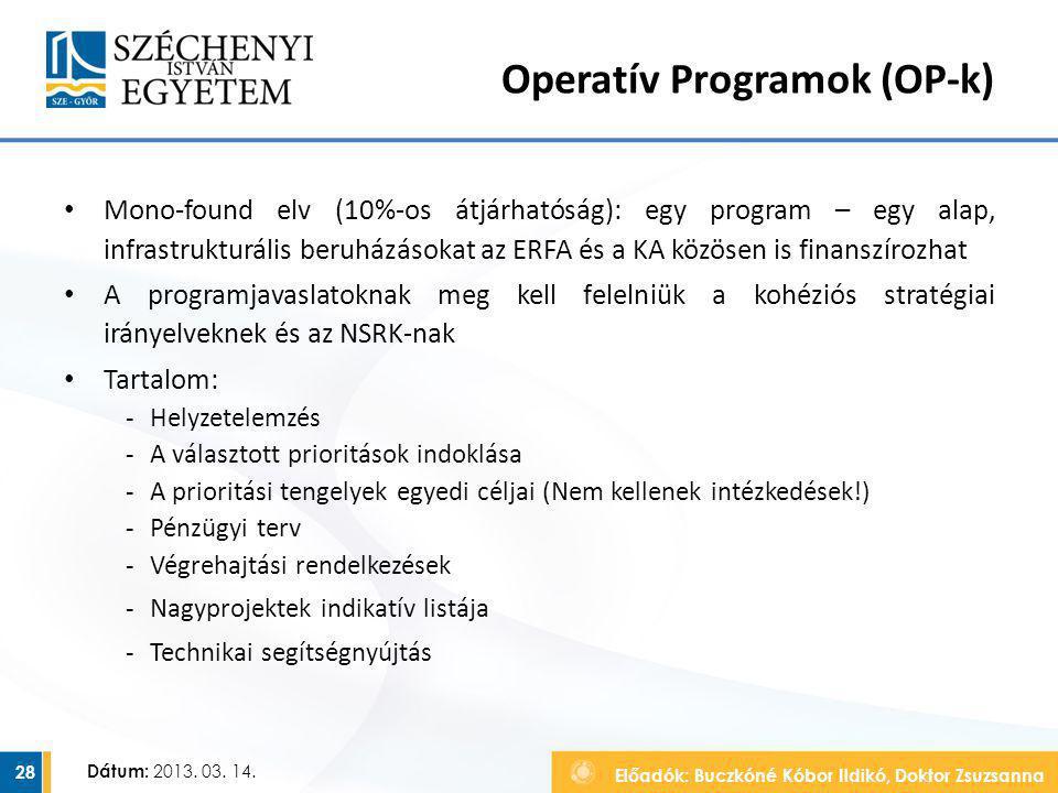 Előadók: Buczkóné Kóbor Ildikó, Doktor Zsuzsanna Dátum: 2013. 03. 14. Operatív Programok (OP-k) Mono-found elv (10%-os átjárhatóság): egy program – eg