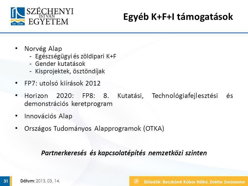 Előadók: Buczkóné Kóbor Ildikó, Doktor Zsuzsanna Dátum: 2013. 03. 14. Egyéb K+F+I támogatások Norvég Alap ‐Egészségügyi és zöldipari K+F ‐Gender kutat