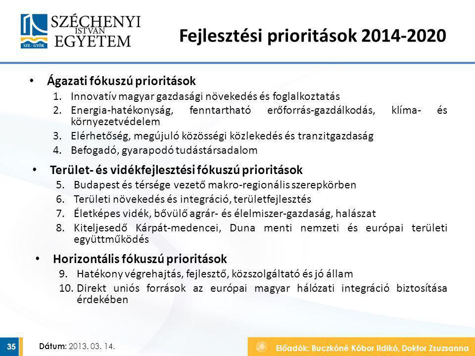 Előadók: Buczkóné Kóbor Ildikó, Doktor Zsuzsanna Dátum: 2013. 03. 14. Fejlesztési prioritások 2014-2020 Ágazati fókuszú prioritások 1.Innovatív magyar