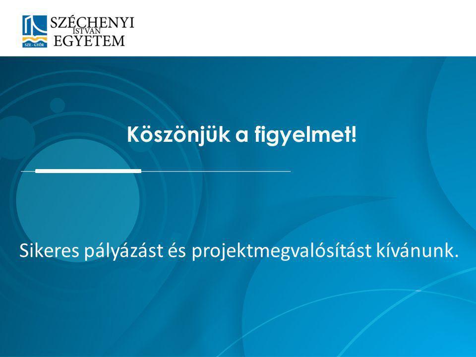 Köszönjük a figyelmet! Sikeres pályázást és projektmegvalósítást kívánunk.