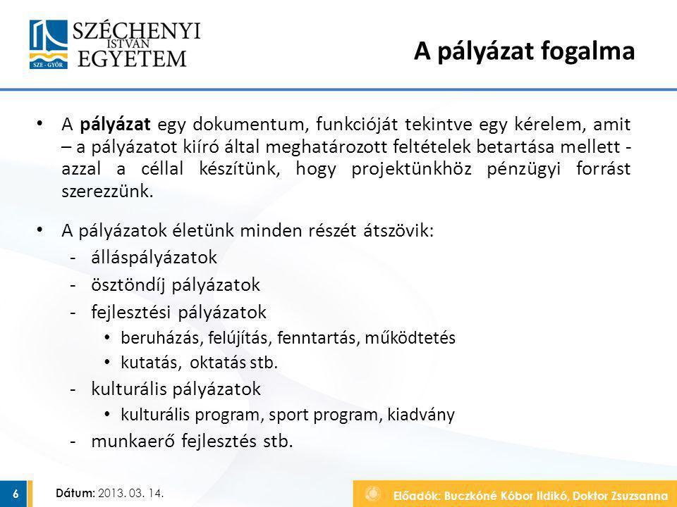 Előadók: Buczkóné Kóbor Ildikó, Doktor Zsuzsanna Dátum: 2013. 03. 14. A pályázat fogalma A pályázat egy dokumentum, funkcióját tekintve egy kérelem, a