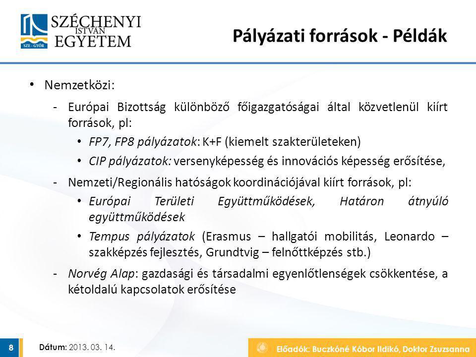 Előadók: Buczkóné Kóbor Ildikó, Doktor Zsuzsanna Dátum: 2013. 03. 14. Pályázati források - Példák Nemzetközi: ‐Európai Bizottság különböző főigazgatós