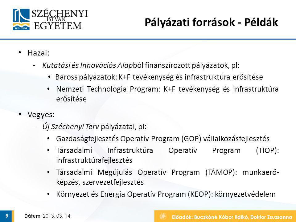 Előadók: Buczkóné Kóbor Ildikó, Doktor Zsuzsanna Dátum: 2013. 03. 14. Pályázati források - Példák Hazai: ‐Kutatási és Innovációs Alapból finanszírozot