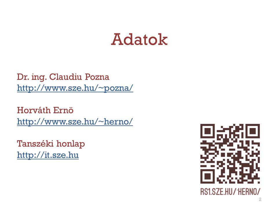 Adatok Dr. ing. Claudiu Pozna http://www.sze.hu/~pozna/ Horváth Ernö http://www.sze.hu/~herno/ Tanszéki honlap http://it.sze.hu 2