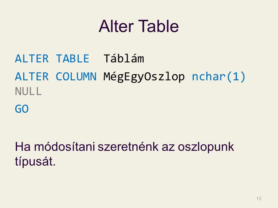 Alter Table ALTER TABLE Táblám ALTER COLUMN MégEgyOszlop nchar(1) NULL GO Ha módosítani szeretnénk az oszlopunk típusát.