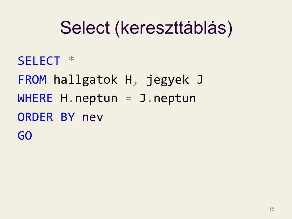 Select (kereszttáblás) SELECT * FROM hallgatok H, jegyek J WHERE H.neptun = J.neptun ORDER BY nev GO 15