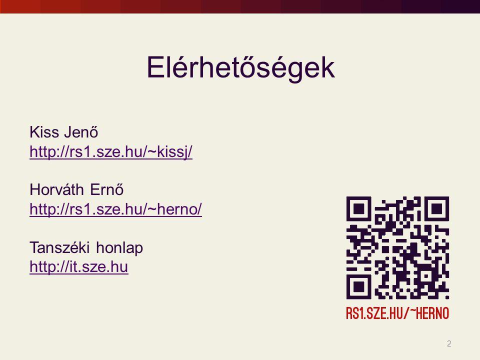 Elérhetőségek Kiss Jenő http://rs1.sze.hu/~kissj/ Horváth Ernő http://rs1.sze.hu/~herno/ Tanszéki honlap http://it.sze.hu 2