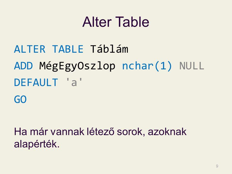 Alter Table ALTER TABLE Táblám ADD MégEgyOszlop nchar(1) NULL DEFAULT 'a' GO Ha már vannak létező sorok, azoknak alapérték. 9