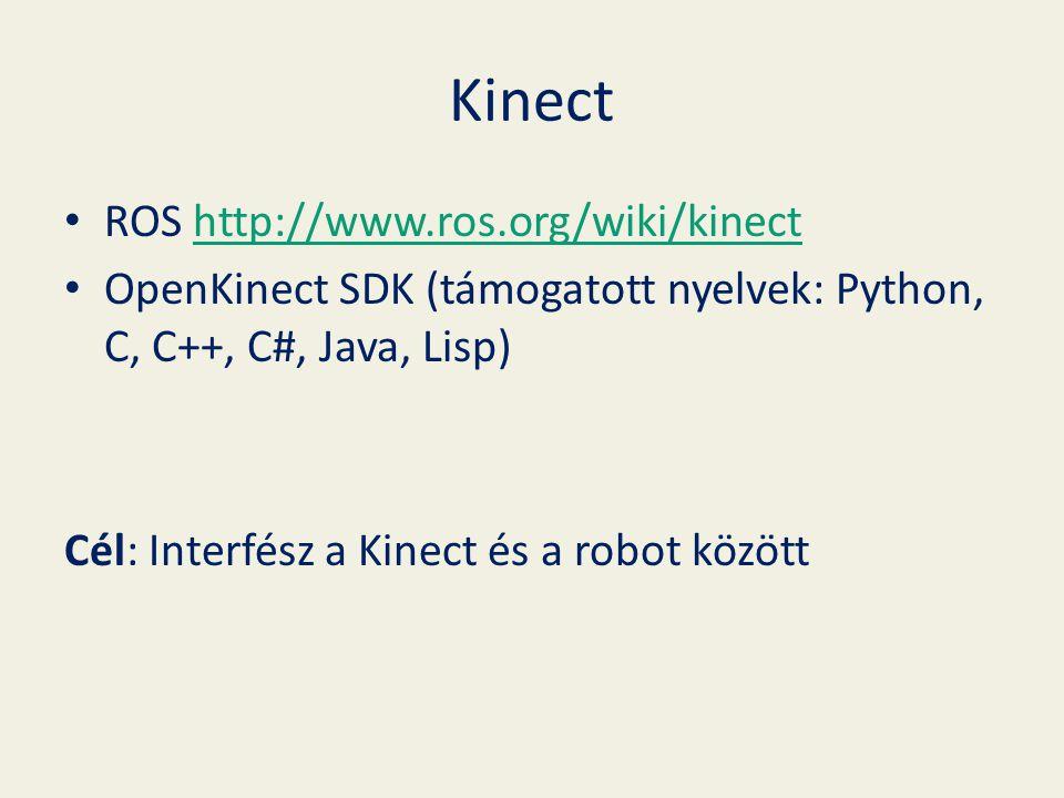 Kinect ROS http://www.ros.org/wiki/kinecthttp://www.ros.org/wiki/kinect OpenKinect SDK (támogatott nyelvek: Python, C, C++, C#, Java, Lisp) Cél: Interfész a Kinect és a robot között