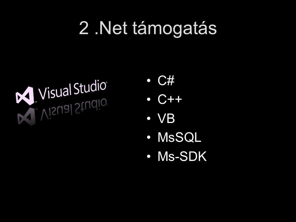 2.Net támogatás C# C++ VB MsSQL Ms-SDK