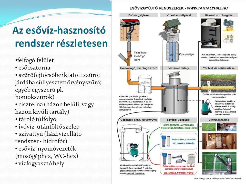 Az esővíz-hasznosító rendszer részletesen felfogó felület esőcsatorna szűrő(ejtőcsőbe iktatott szűrő; járdába süllyesztett örvényszűrő; egyéb egyszerű