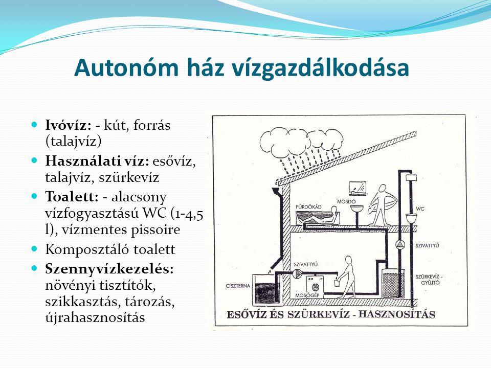 Autonóm ház vízgazdálkodása Ivóvíz: - kút, forrás (talajvíz) Használati víz: esővíz, talajvíz, szürkevíz Toalett: - alacsony vízfogyasztású WC (1-4,5 l), vízmentes pissoire Komposztáló toalett Szennyvízkezelés: növényi tisztítók, szikkasztás, tározás, újrahasznosítás