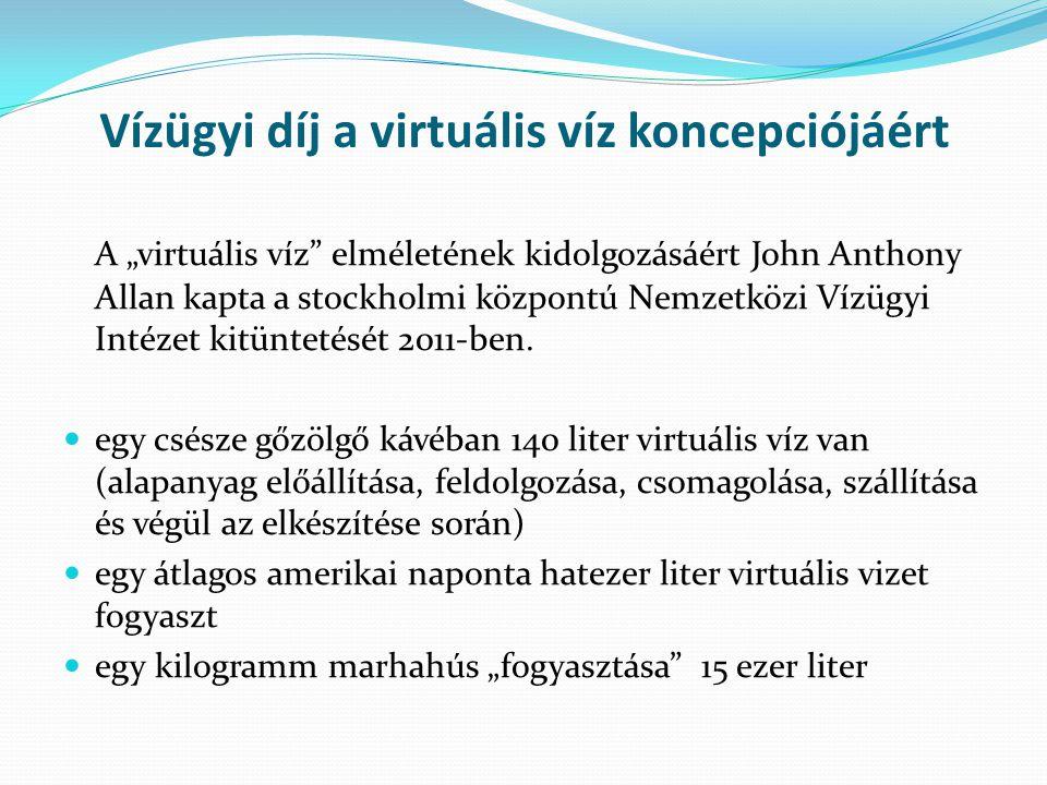 """Vízügyi díj a virtuális víz koncepciójáért A """"virtuális víz elméletének kidolgozásáért John Anthony Allan kapta a stockholmi központú Nemzetközi Vízügyi Intézet kitüntetését 2011-ben."""