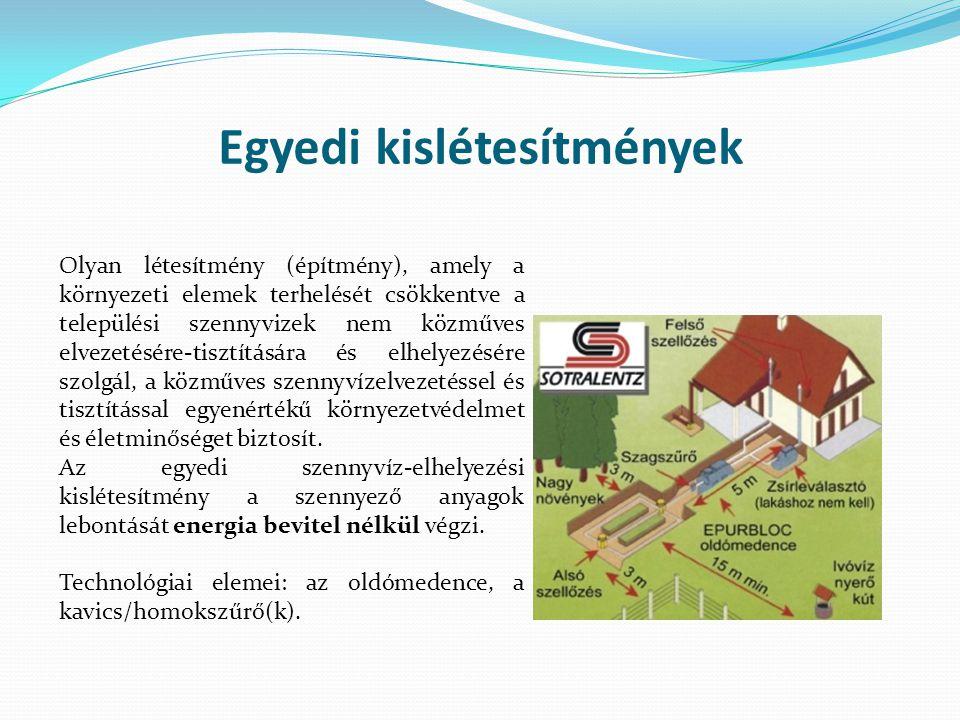 Egyedi kislétesítmények Olyan létesítmény (építmény), amely a környezeti elemek terhelését csökkentve a települési szennyvizek nem közműves elvezetésére-tisztítására és elhelyezésére szolgál, a közműves szennyvízelvezetéssel és tisztítással egyenértékű környezetvédelmet és életminőséget biztosít.